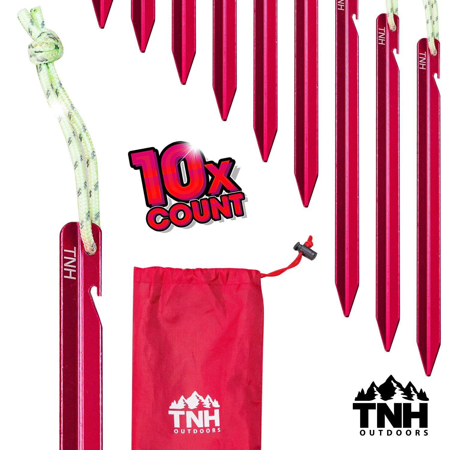 TNH Outdoors 10X Aluminum Tri-Beam Tent Stakes