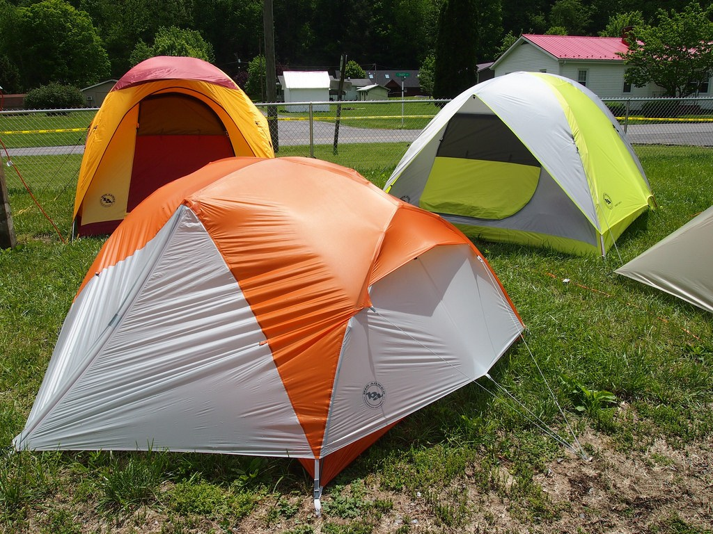 Three tents with different color
