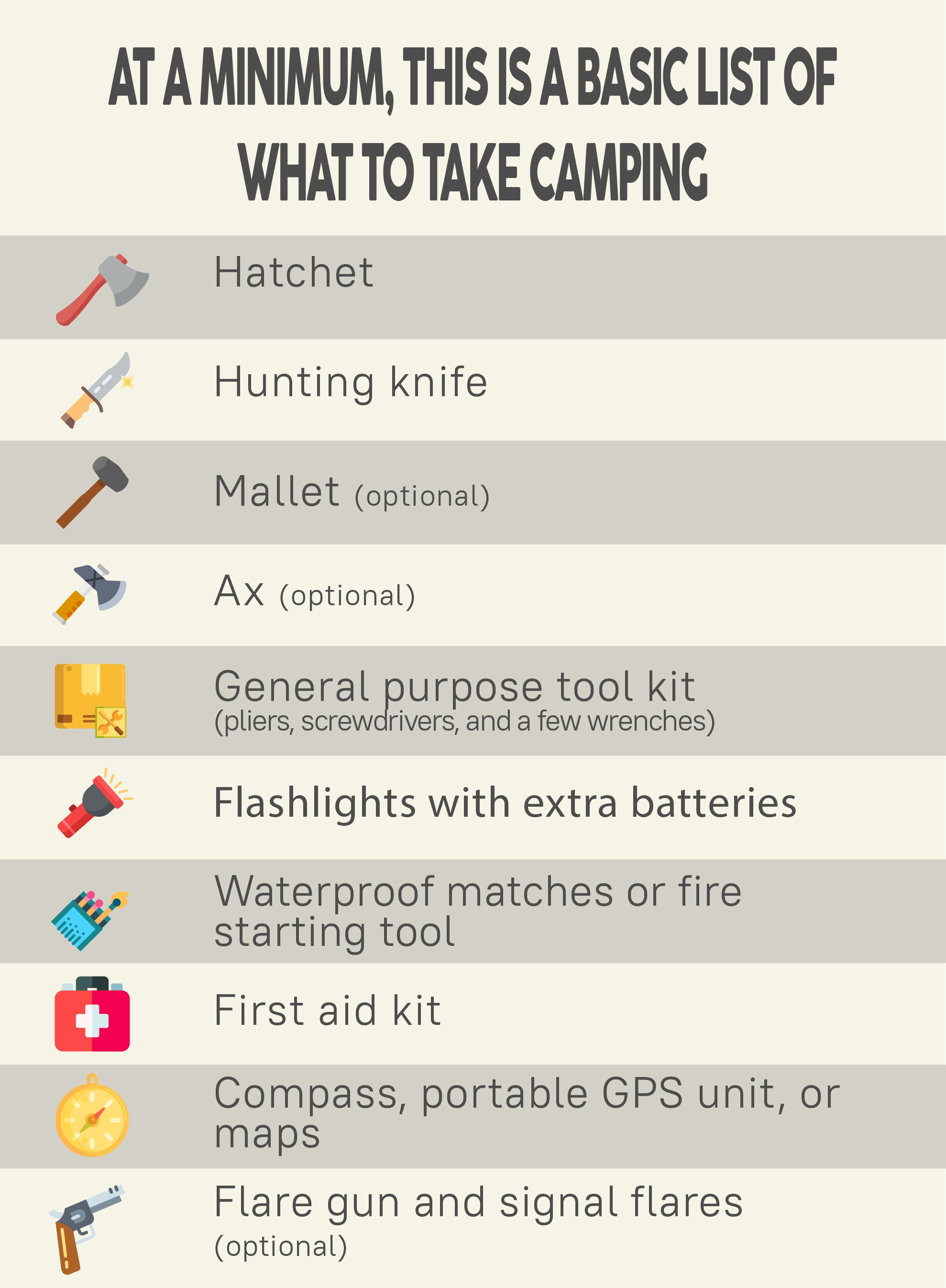 what to take camping infograph