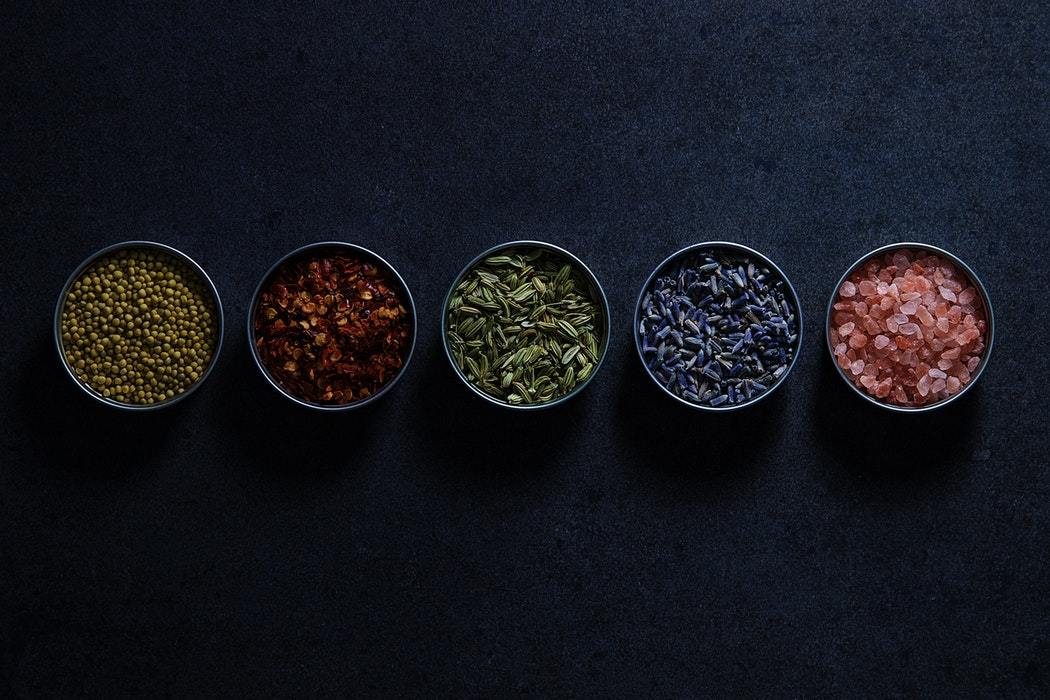 five assorted-type condiments